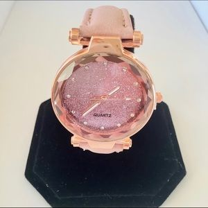 Accessories - Sparkly rose gold quartz watch, pink strap